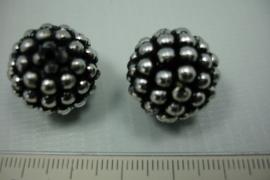 [ 5836 ] Balletjes kraal Zilver met zwart 20 mm. per stuk