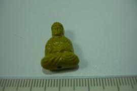 [ 7061 ] Boeddha zit 19 mm. Mosterd kleur, per stuk