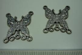 [ 6183 ] Ornament Vlinder 25 x 20 mm. nr. 60, Zilverkleur, 5 stuks