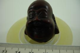 *[ 6922 ] Lachende Boeddha 36 mm. D. Bruin, per stuk
