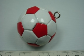 *[ 5640 ] Voetbal Wit Rood, 40 mm.