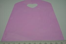 [ 8243 ] Tasje 21 x 13 cm. Roze met Hartje, 50 stuks