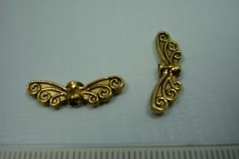 [ 0776 ] Vlinder vleugel 22 x 7 mm. Oud Goud kleur, per stuk