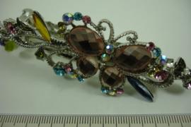 *[ 6893 ] Haarspeld Vlinder op tak 10 cm. Roze, per stuk