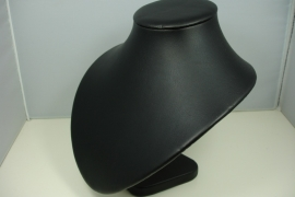 *[ 9146 ] Punthals Zwart Leer, Kort 20 cm.