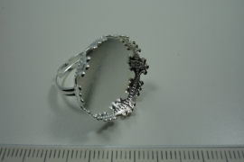 [ 0871 ] Ring 21 mm. Verzilverd met sier rand, per stuk