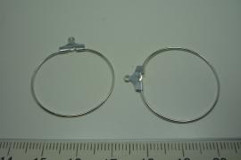 [ 6165 ] Aanhang Creool 30 mm. Verzilverd, per paar