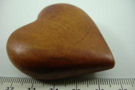 [ 6794 ] Houten Hart 5 cm. Bruin, per stuk