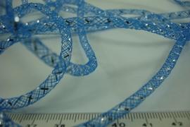 [ 6402 ] Open Tube koord 4 mm. Blauw met Zilver,  per meter