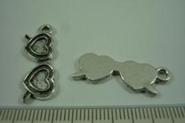 [ 1257 ] Dubbel Hartje  28 x 9.6 mm. Oud Zilver, per stuk