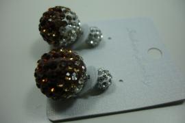 [ 6217 ] Double Dots Oorbel Bruin/Zilver Glitter