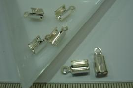[ 5776 ] Veter/Koord klem DQ  7 x 5 mm. Verzilverd, 6 stuks