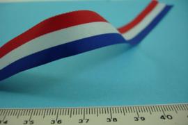 [ 7021 ] Lint; Rood-Wit-Blauw 15 mm. breed,  per meter