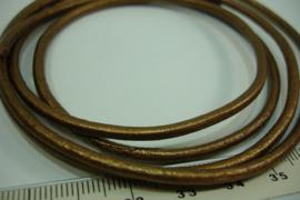[ 6749-A ] Echt DQ Leer 3 mm. Bruin/Koper, per meter