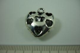 [ 1245 ] Hart met open hartjes  23.5 x 20 mm. Zilverkleur, per stuk