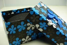 *[ 9115 ] Horloge/Armband doosje 8.5 x 8.5 cm. Blauw, per stuk