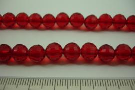 [ 8461 ] 8 mm. Fazet Glas Kralen, Rood helder, 55 cm. per streng