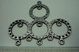 [ 6184 ] Ornament 45 x 50 mm. nr. 23, Zilverkleur, 3 stuks