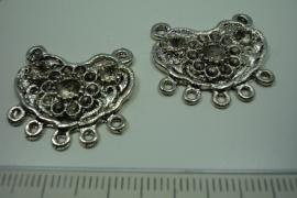 [ 6180 ] Ornament 24 x 23 mm. nr. 77, Zilverkleur, 6 stuks