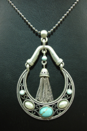 [ 8752-D ] Lange ketting 1 meter met oud Zilver hanger met Turquoise en Parels