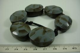 [ 6351 ] Kunsstof kraal ovaal 29 mm. Grijs D. Grijs, 6 stuks