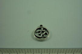 [0550 ] OHM Bedeltje 12 mm. Metaal Zilverkleur, per stuk