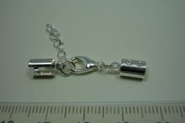 [ 0817 ] Veterlem 8 x 5 mm. met slot en verleng ketting, Verzilverd, per set