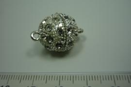[ 0815 ] Magneetslot 16 mm. met strass, Verzilverd, per stuk