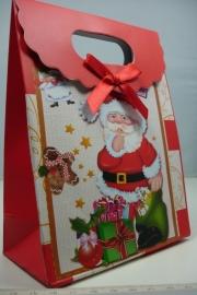 *[ 5960 ] Kerst Tasje  12.5 x 16 cm. Kerstman met kodootjes, per stuk