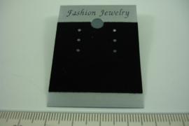 [ 6913 ] Oorbelkaartje Zilver met Zwart Fluweel 5 cm.  per 10 stuks