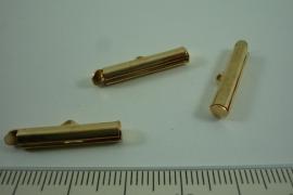 [ 6647 ] Inschuif Buis klem 20 mm. Goudkleur, 6 stuks