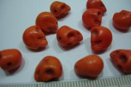 [ 0321 ] Doodshoofd  kraal  10 mm. Oranje, per stuk