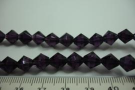 [ 6665 ] Conisch geslepen Glaskraal 8 mm. Paars, per streng