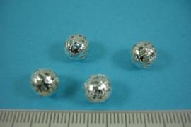 [ 6810 ] Filigrein kraal 8 mm. Verzilverd,  per 4 stuks