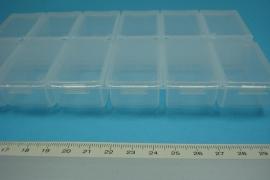 *[ 9071 ] Opberg doosje 12 aparte vakjes, 18 x 10.5 cm. per stuk