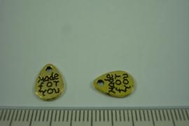 [ 1221 ] Tekst Bedel   11.3 x 8 mm.  Goudkleur, per stuk