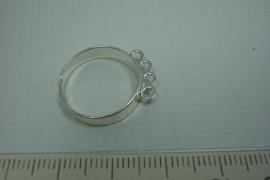 [ 0738 ] 3 oog Ring, Verzilverd, per stuk