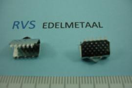 [ 8432 ]  RVS,  Lintklem 10 mm. per 6 stuks