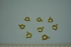 [5522 ] Veerring slotje 6 mm. Goudkleur, 10 stuks