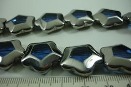 [ 6494 ] Glas kraal 5 kant 21 mm. Blauw met Zilverrand, 15 stuks