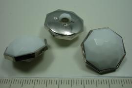 [ 0895 ] sluit Knoop 20 mm. Kunstof, Wit Zilver rand, per stuk