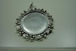 [ 0860 ] Cabochon houder 29 mm. Rond, Zilverkleur,  per stuk