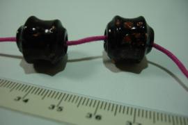 [ 7079 ] Glas kraal 15 mm. Zwart, per stuk