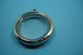 [ 6243 ] Memory Locker Rond 31 mm. Zilverkleur glad, per stuk