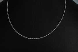 [ 8526-45 ] RVS  Balletjes Ketting 45 cm. van 2 mm. dikte