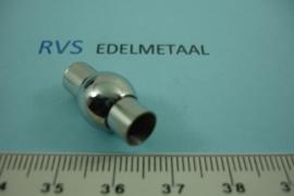 [ 6981 ] RVS  Bol,  6 mm. inlijm Magneet slot, per stuk