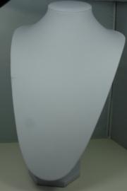 *[ 9190 ] Hals punt Hoog, Wit Leer 34 cm.