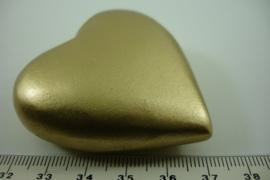 [ 6792 ] Houten Hart hanger 5 cm. Goudkleur, per stuk