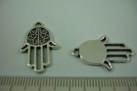 [ 1252 ] Fatima hand  24.5 x 16 mm. Zilverkleur, per stuk