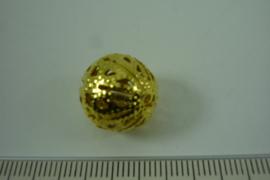 [ 6823 ] Filigrein kraal 14 mm. Verguld, per stuk